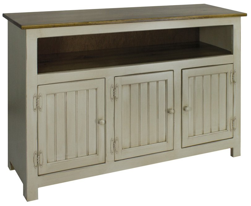 Hidden Acres Entertainment Center white and wood-811x667